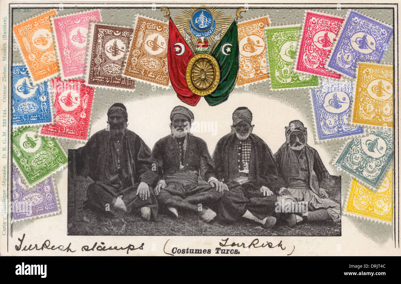 Turkey - Venerable Turks surrounded by postage stamps - Stock Image