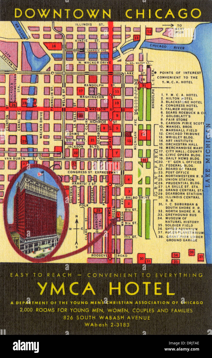 Map and location of YMCA Hotel - Chicago, USA Stock Photo