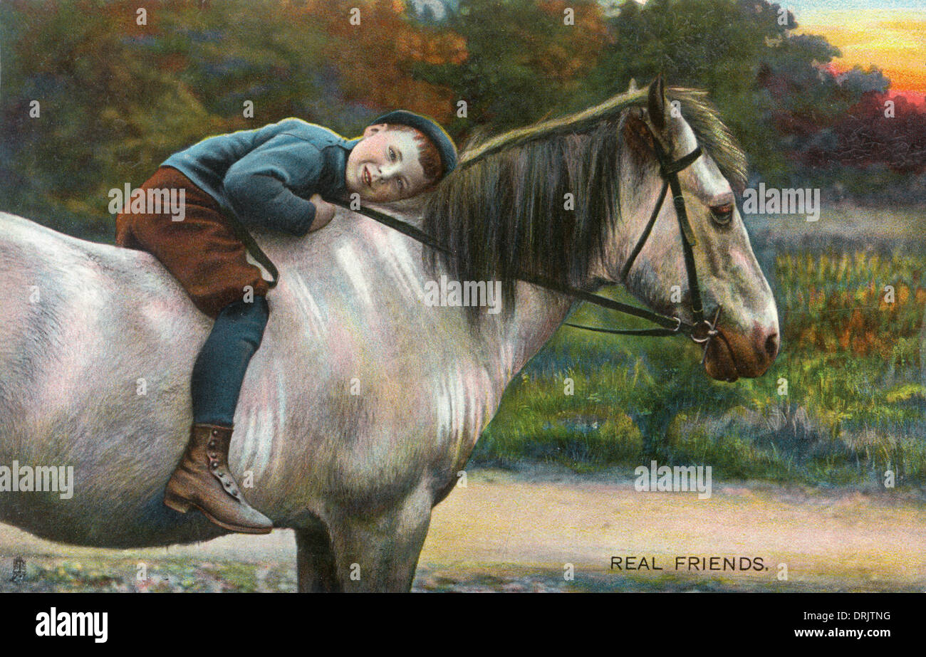 Real Friends - Young Boyand his favourite horse - Stock Image