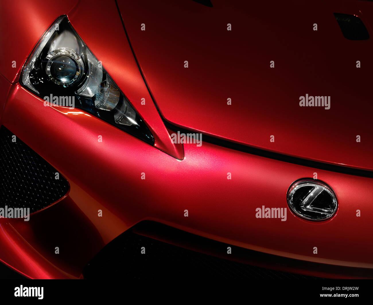 Closeup of red 2012 Lexus LFA supercar detail - Stock Image