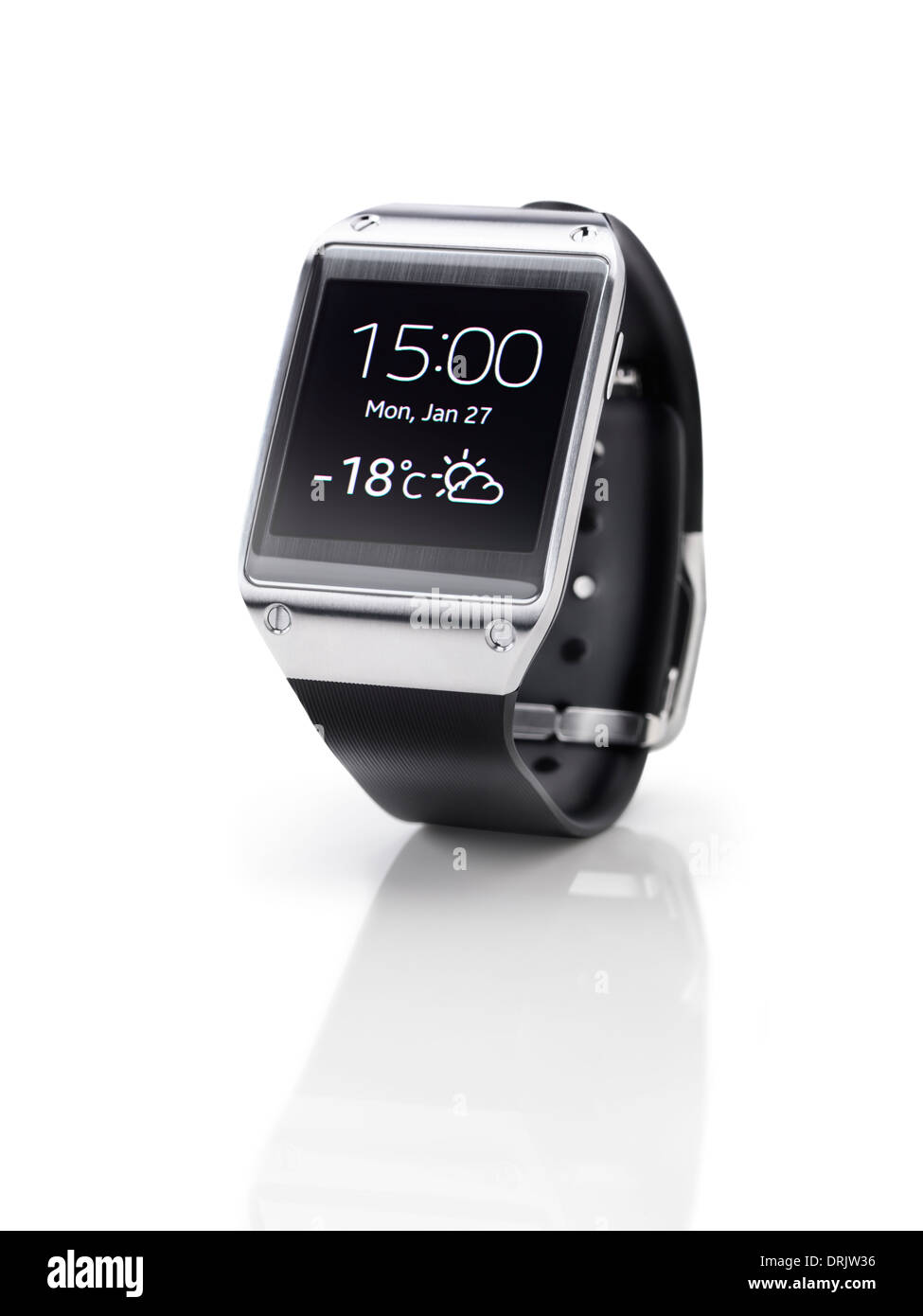 Samsung Galaxy Gear smartwatch closeup. Isolated watch on white background with clipping path. - Stock Image
