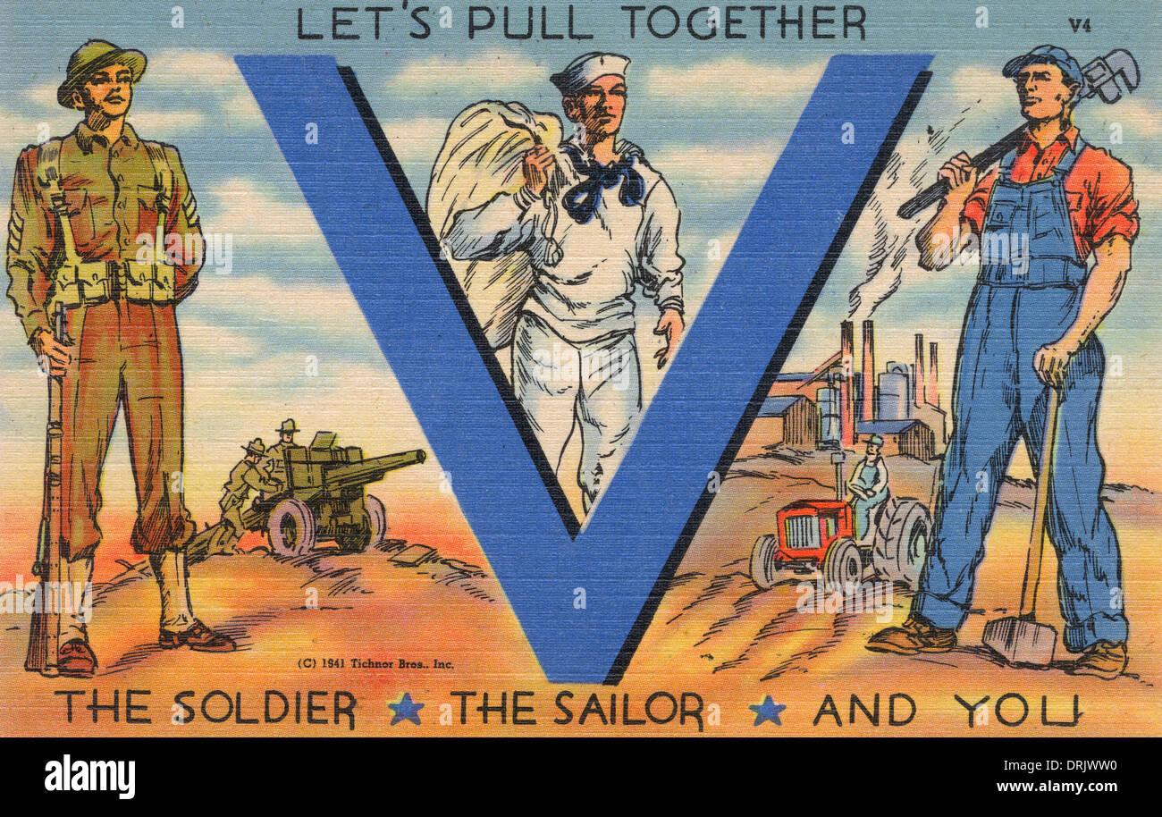 V for Victory - American Propaganda Postcard - Stock Image
