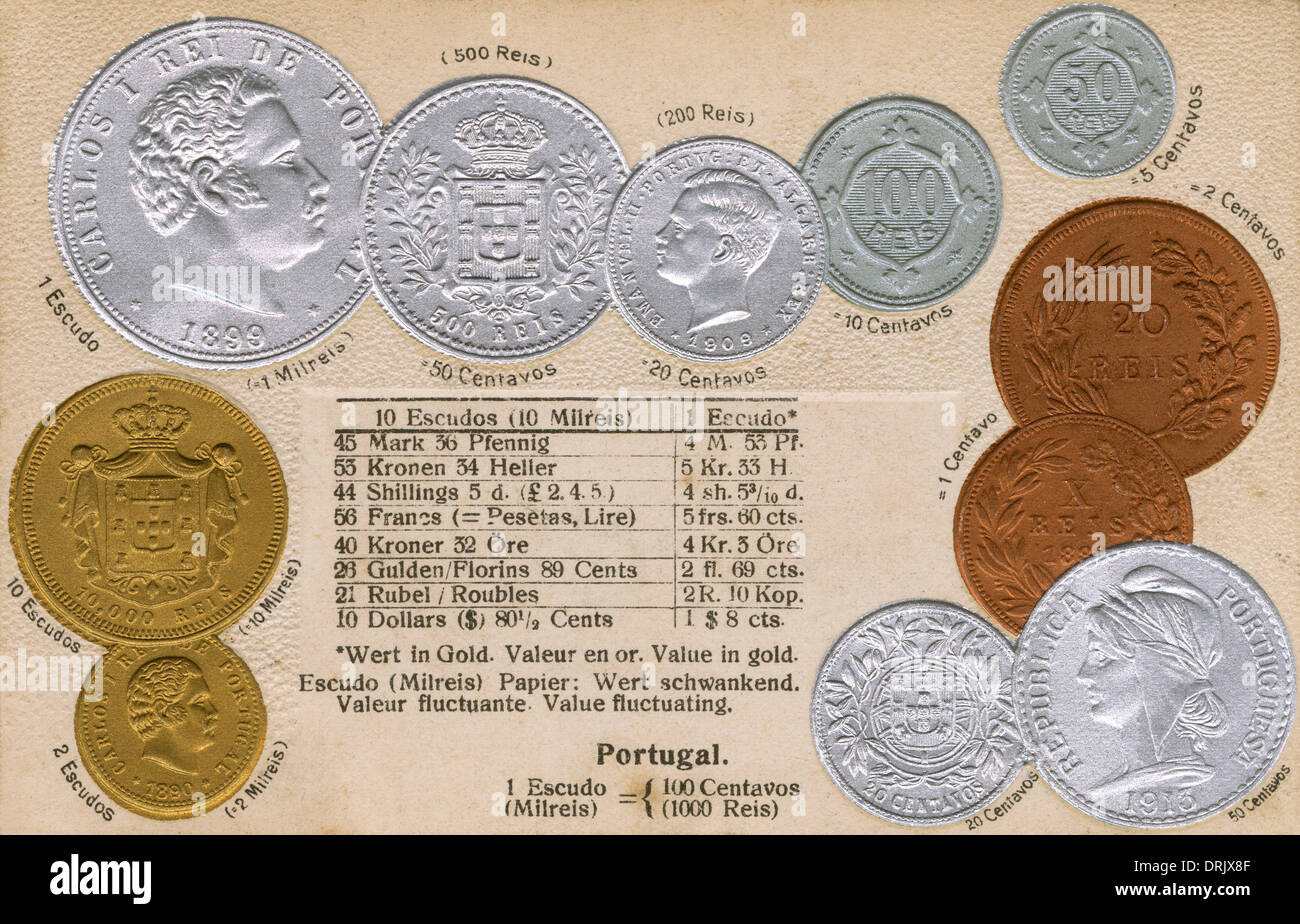 Portuguese coins - early 20th century - Stock Image