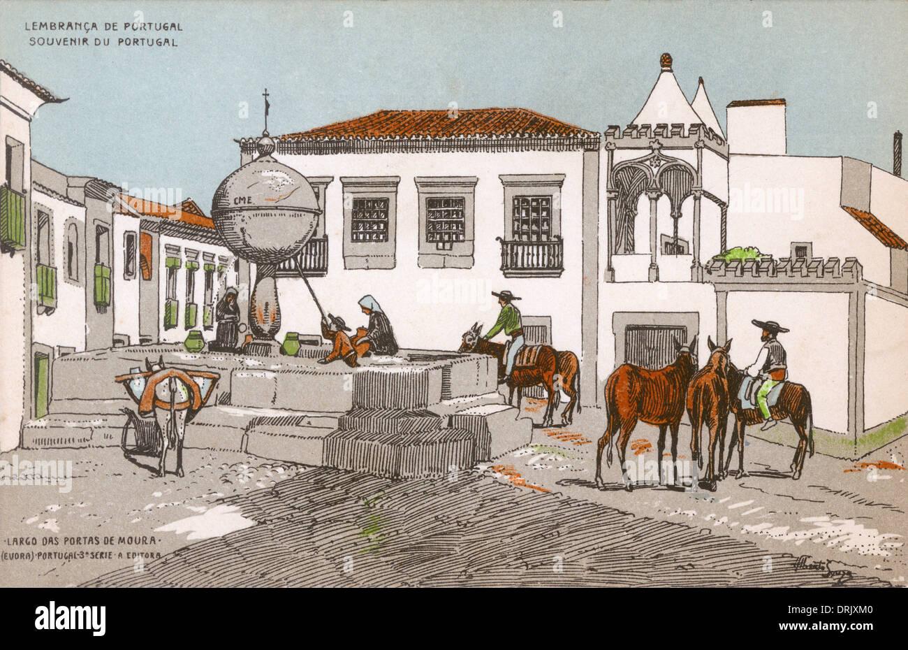 Largo das Portas de Moura, Evora, Portugal - Stock Image
