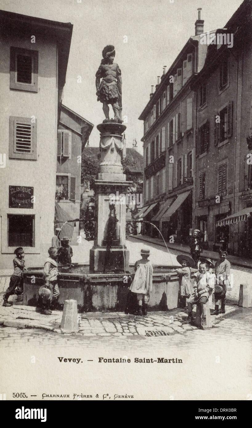 Vevey, Switzerland - Fountain Saint-Martin - Stock Image