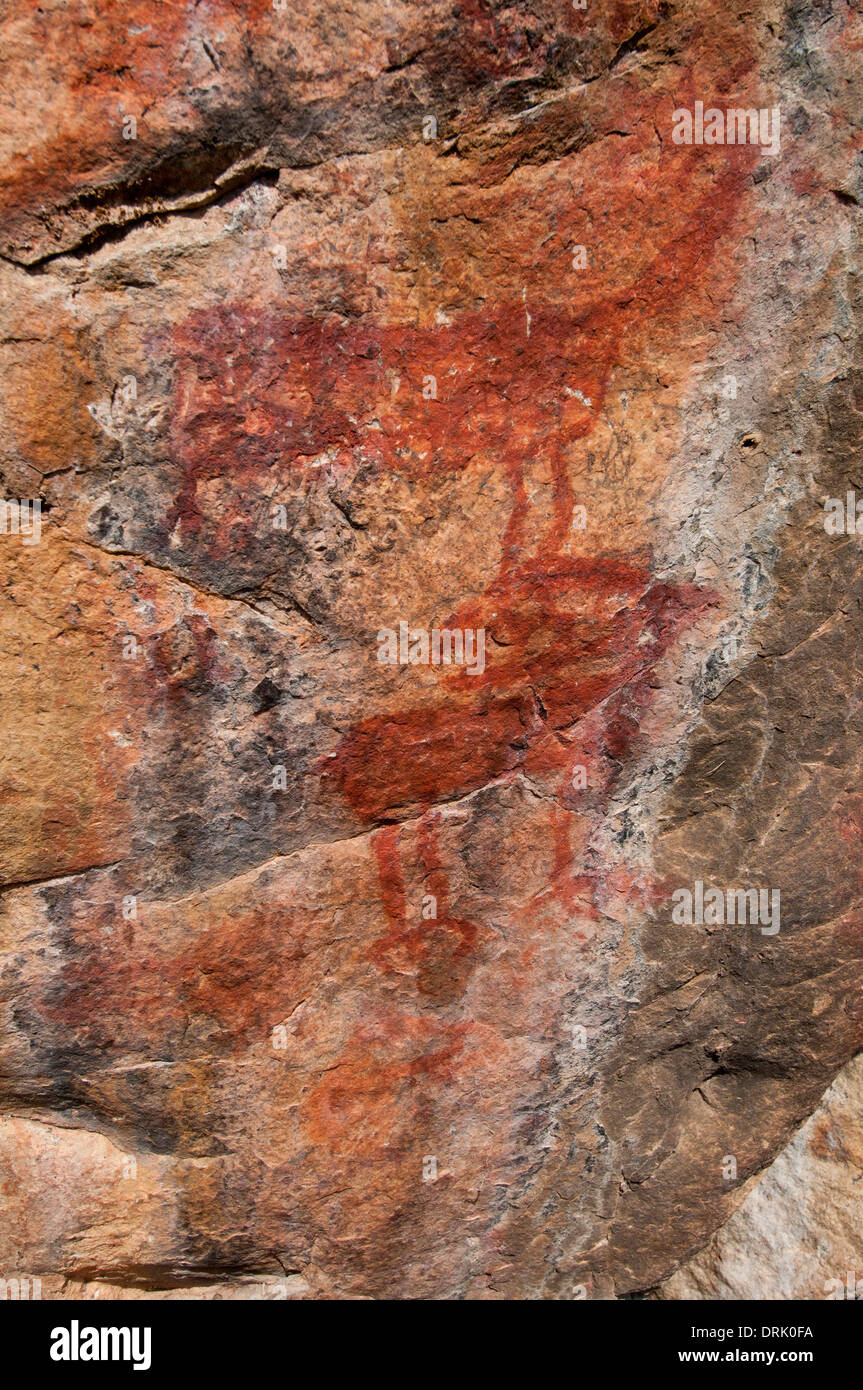 Sheepeater Indian pictographs on the Middle Fork of the Salmon Riv. in the Frank Church - River of No Return Wilderness in Idaho - Stock Image