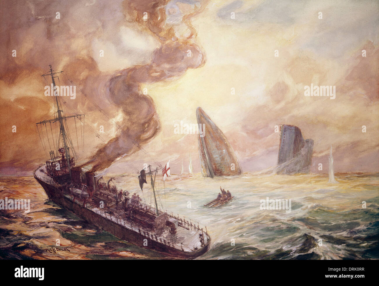 Ships sinking and in trouble, WW1 - Stock Image