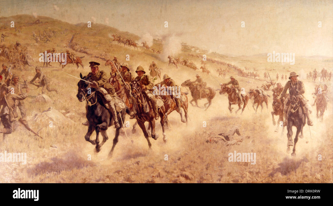 Charge of the mounted brigade at El-Mughar, WW1 - Stock Image