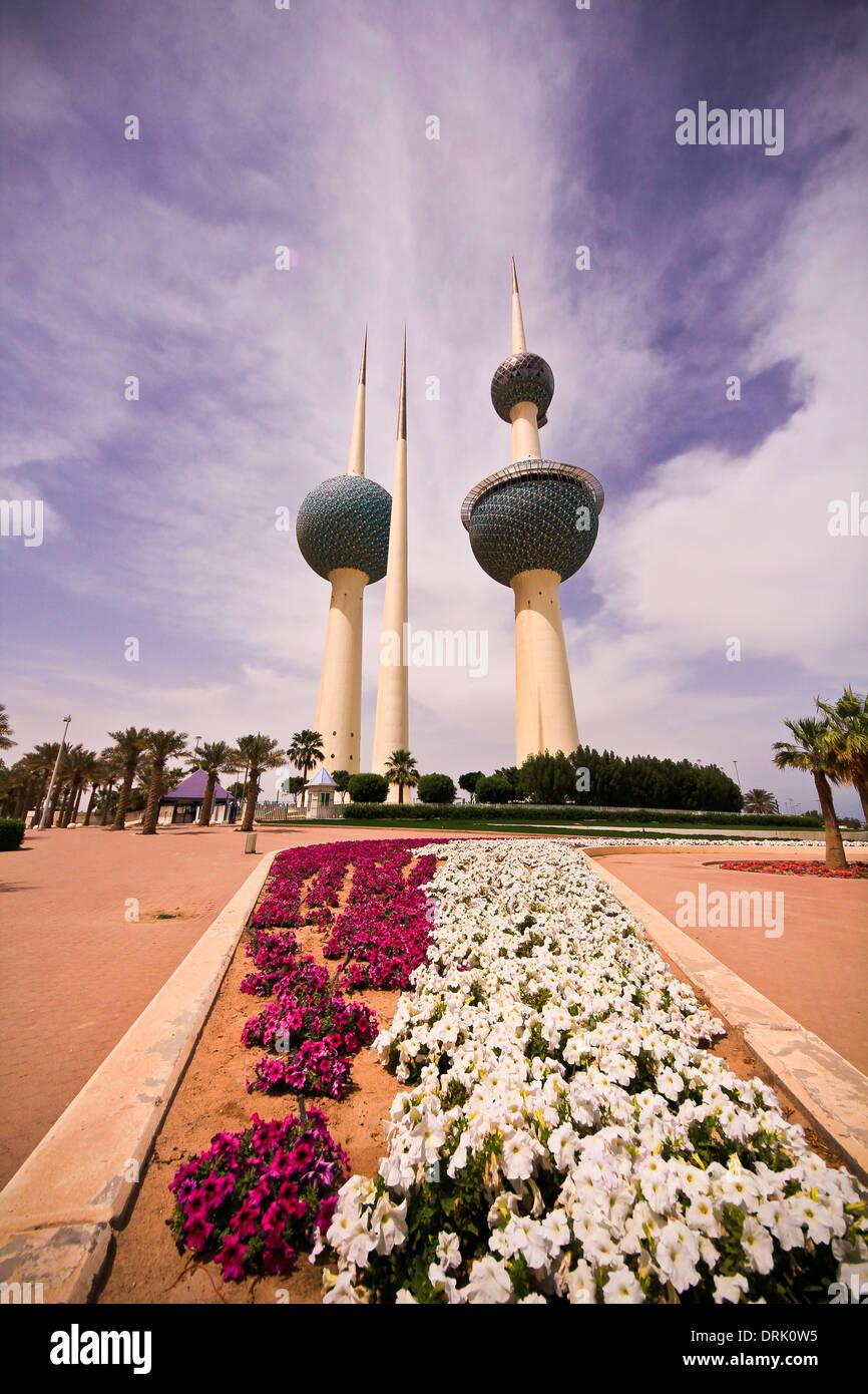 Kuwait towers,  kuwait city,  Arabian peninsula - Stock Image