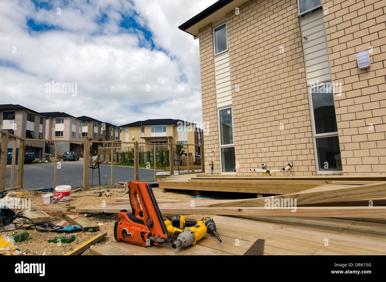 working tools in new homes building site in auckland new zealand