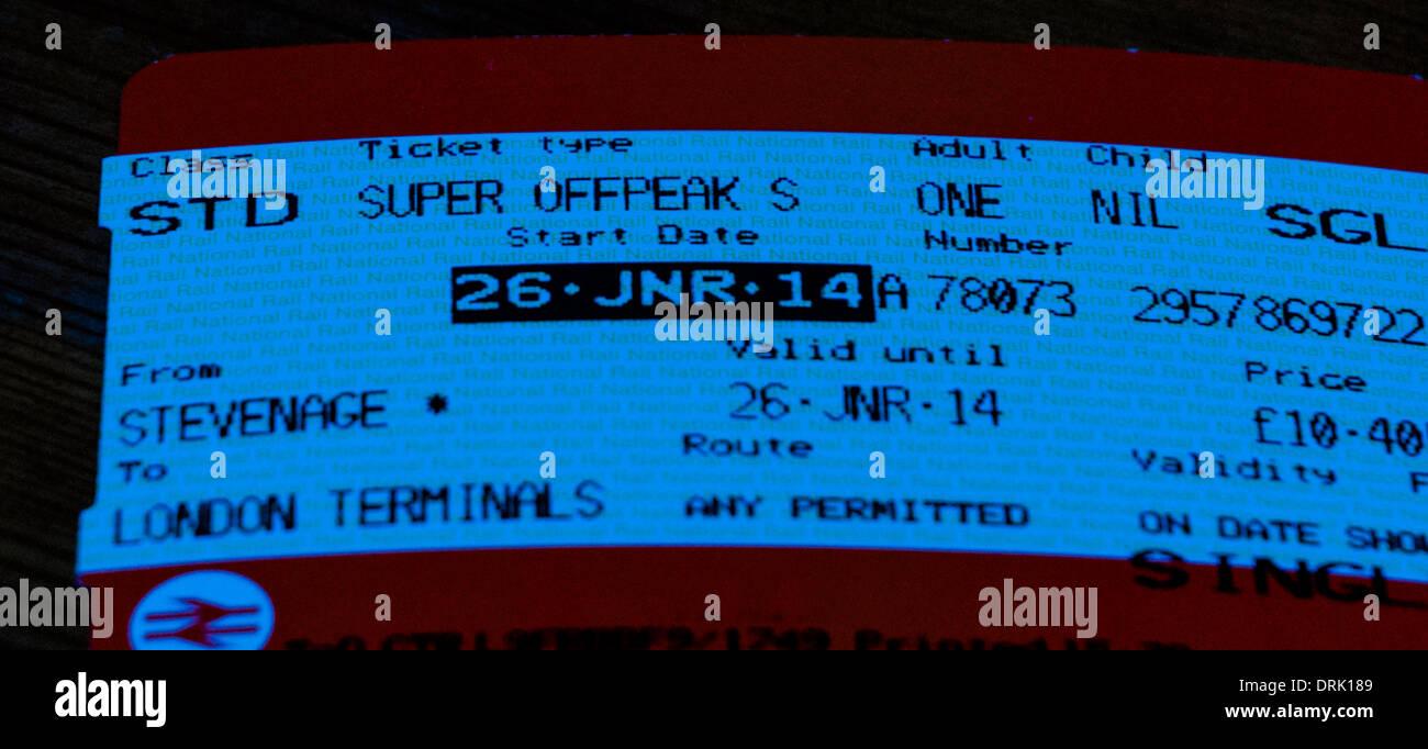 Off peak rail ticket - Stock Image