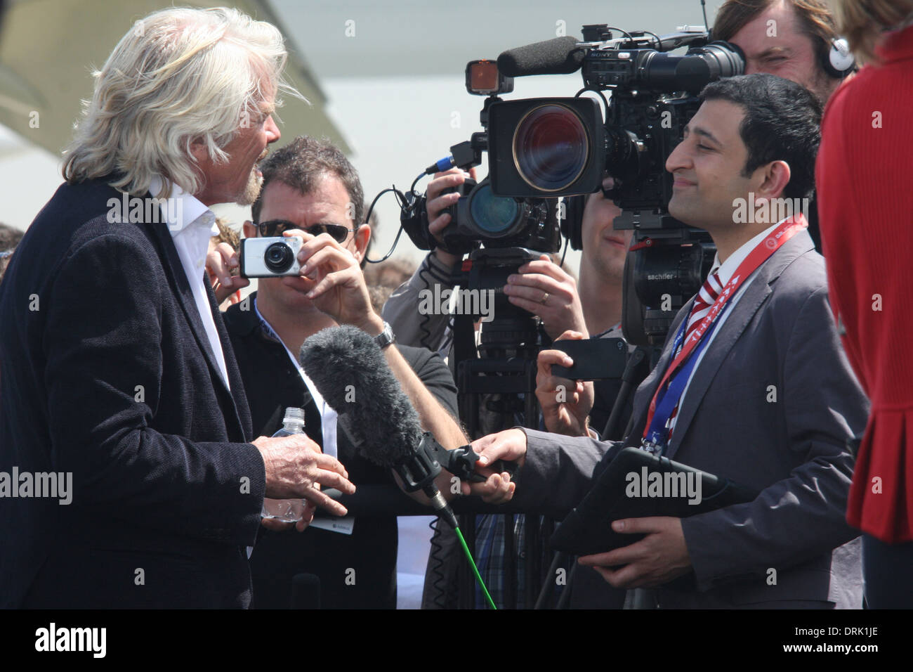 'Sir Richard Branson' talking to journalists following a press call showcasing his 'Virgin Galactic - Stock Image