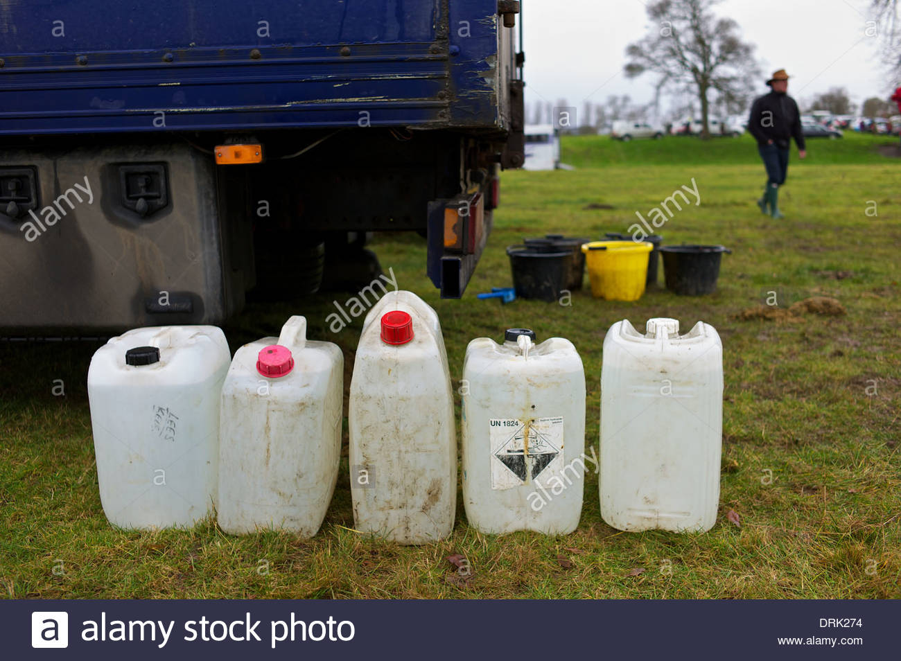 Water supplies at a horse race meeting in the Scottish Borders. - Stock Image