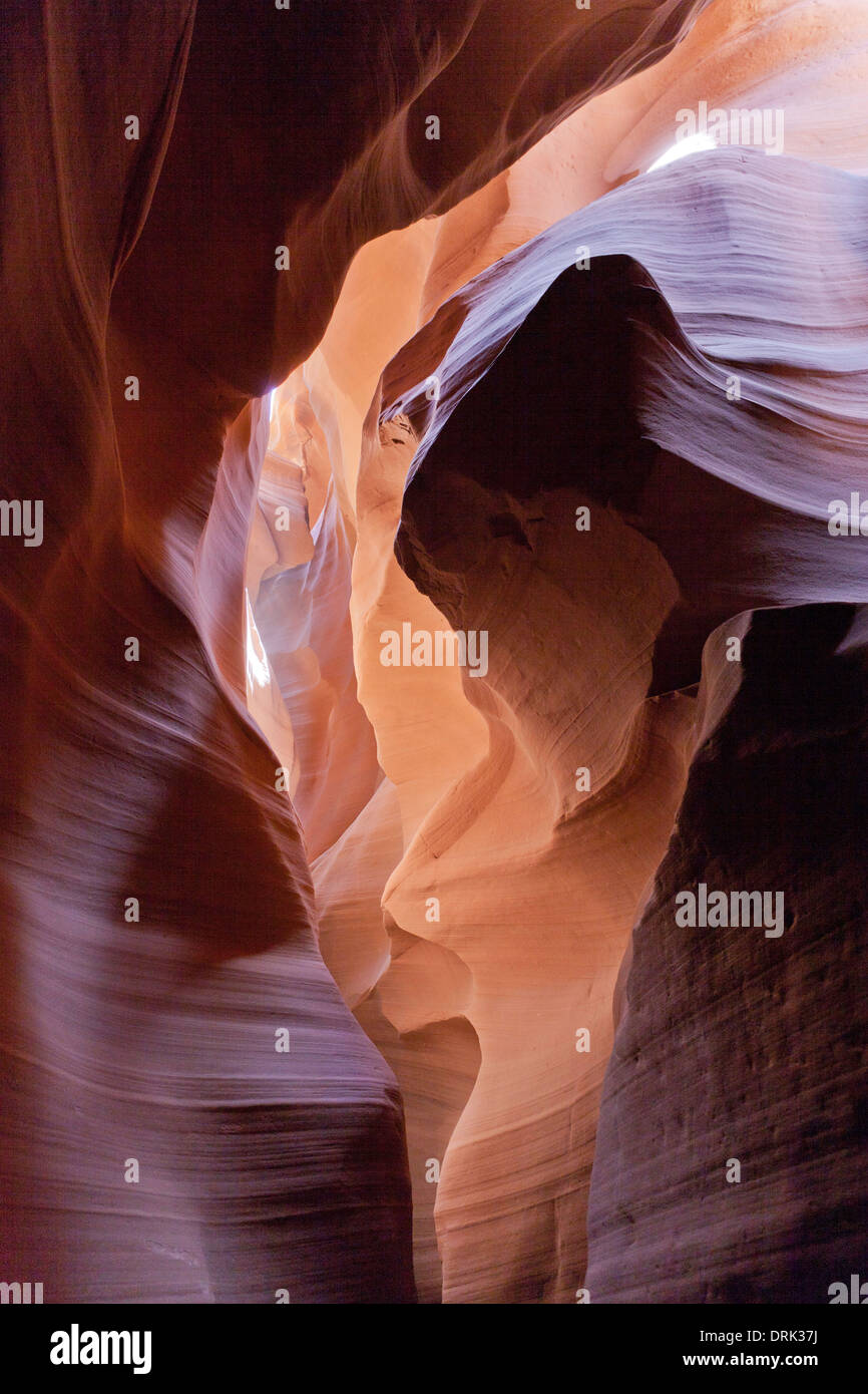 Antelope Canyon is a slot canyon in the American Southwest. It is located on Navajo land east of Page, Arizona. Stock Photo