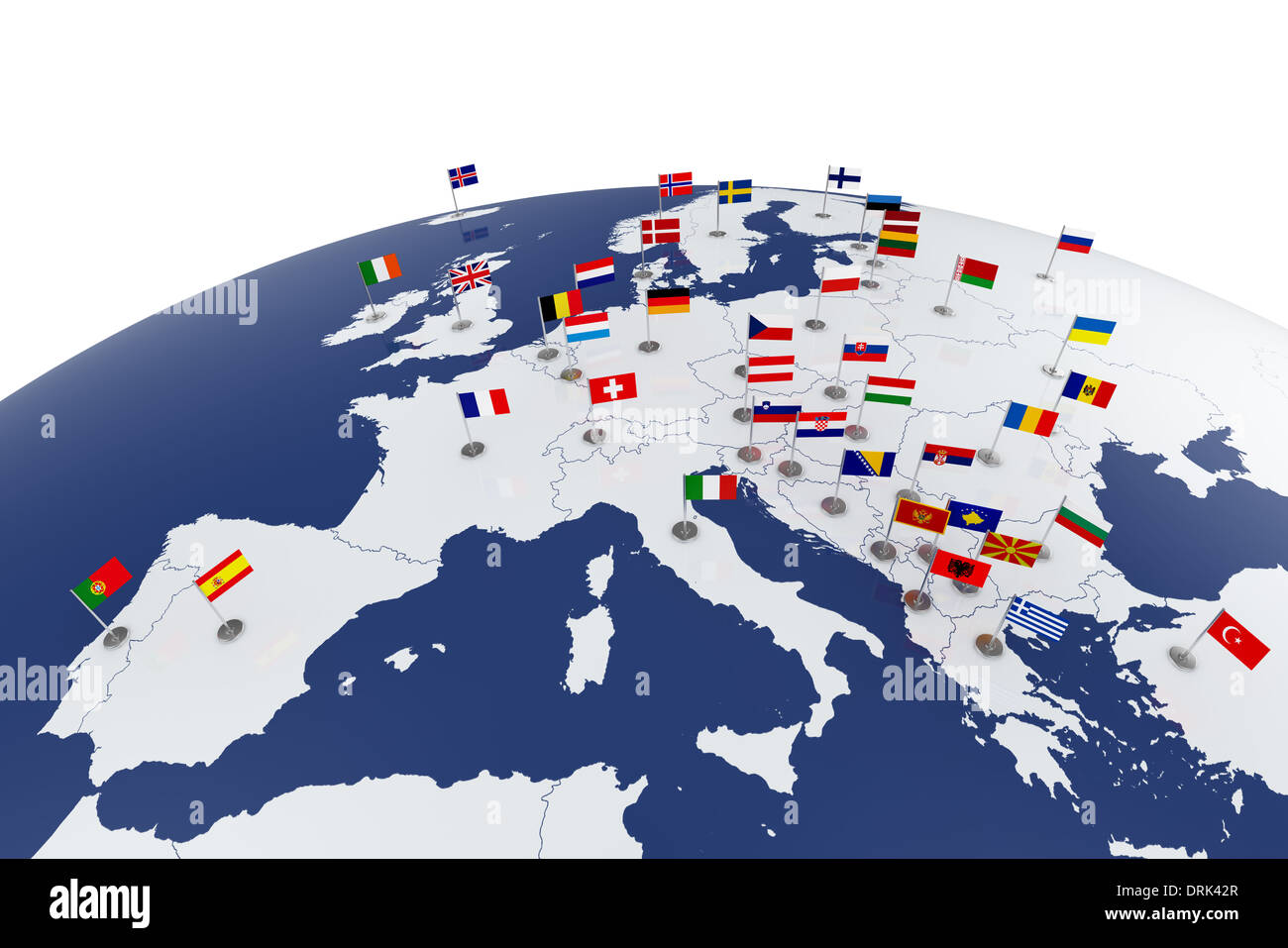 3d render of Europe map with countries flags - Stock Image