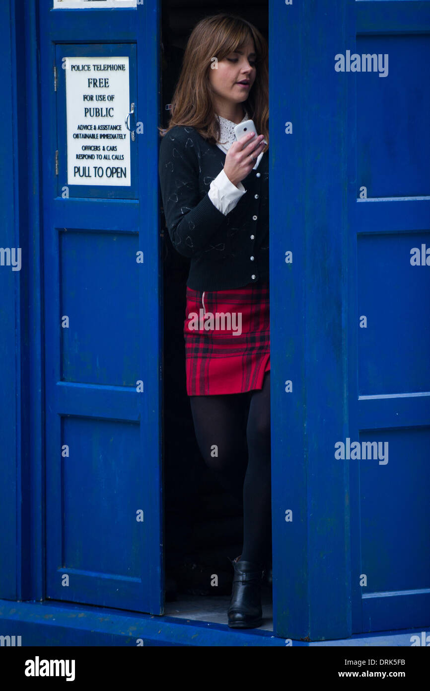 Cardiff, Wales, UK. 28th January 2014. Jenna Louise Coleman, who plays Clara Oswald, is spotted on the set of Doctor Who while filming on Queen Street in Cardiff. Credit:  Polly Thomas / Alamy Live News - Stock Image