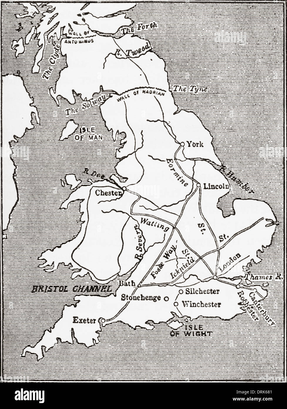 Map showing the Roman roads in Britain. - Stock Image