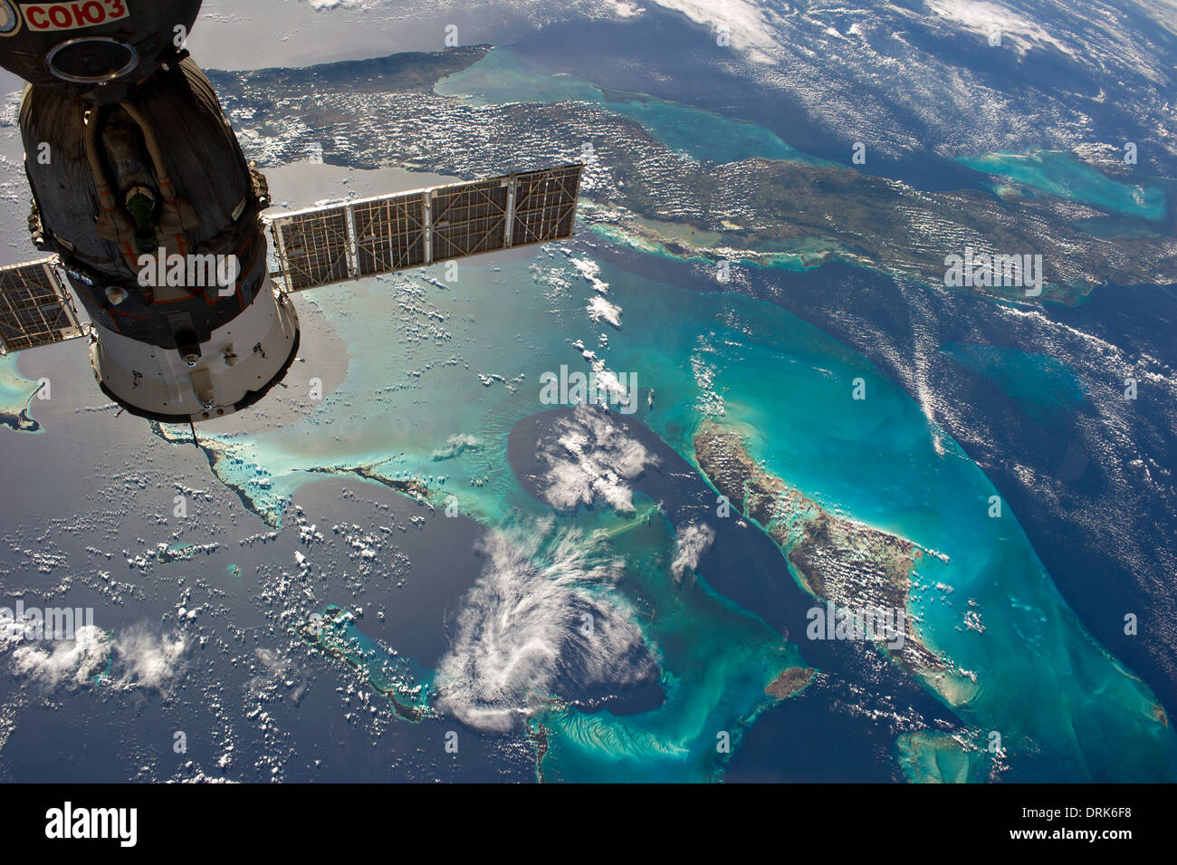 View from the International Space Station of the Caribbean showing Cuba and Andros Island in the Bahamas framed by the docked Soyuz spacecraft December 23, 2013. - Stock Image