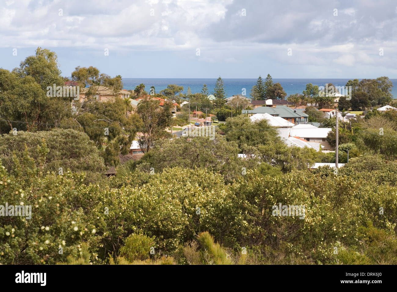 Bushland, the northern coastal suburb of Hillaries and the Indian Ocean, Perth. Western Australia - Stock Image