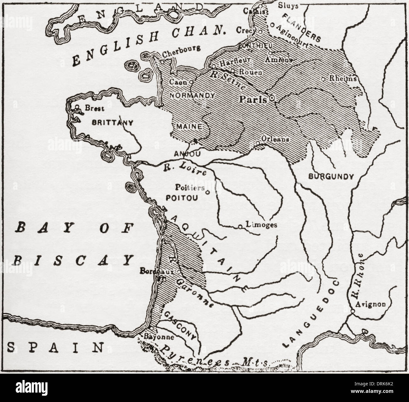Map showing French territory held by the English when Jeanne D'Arc appeared, 1429. - Stock Image