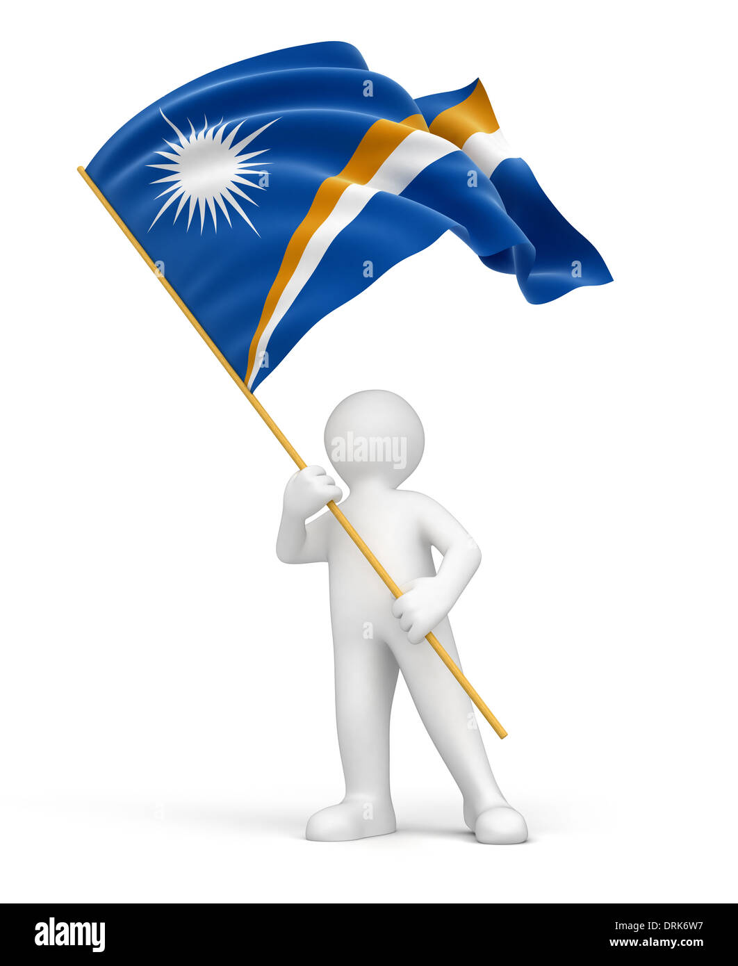 Man and Marshall Islands flag (clipping path included) - Stock Image