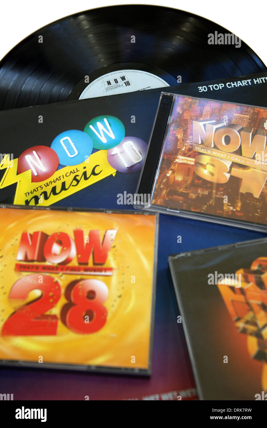 NOW music chart songs CD's and records - Stock Image