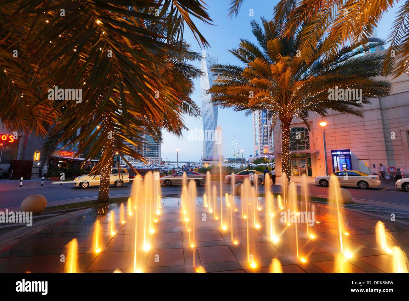 Dubai Marina, fountain - Stock Image