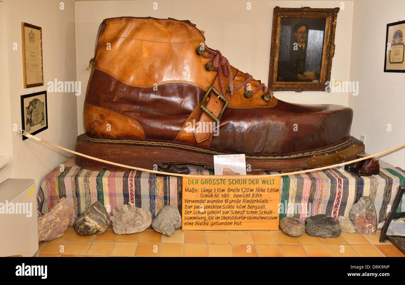 Once the largest boot in the world although  is now beaten by Red Kite in USA . Heimatmuseum, Oberstdorf,  Barvaria Germany - Stock Image