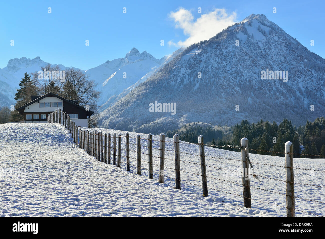 Winter scene of the foothills to  the Bavarian  Alps above Oberstdorf in the Allgäu.  ,Germany - Stock Image