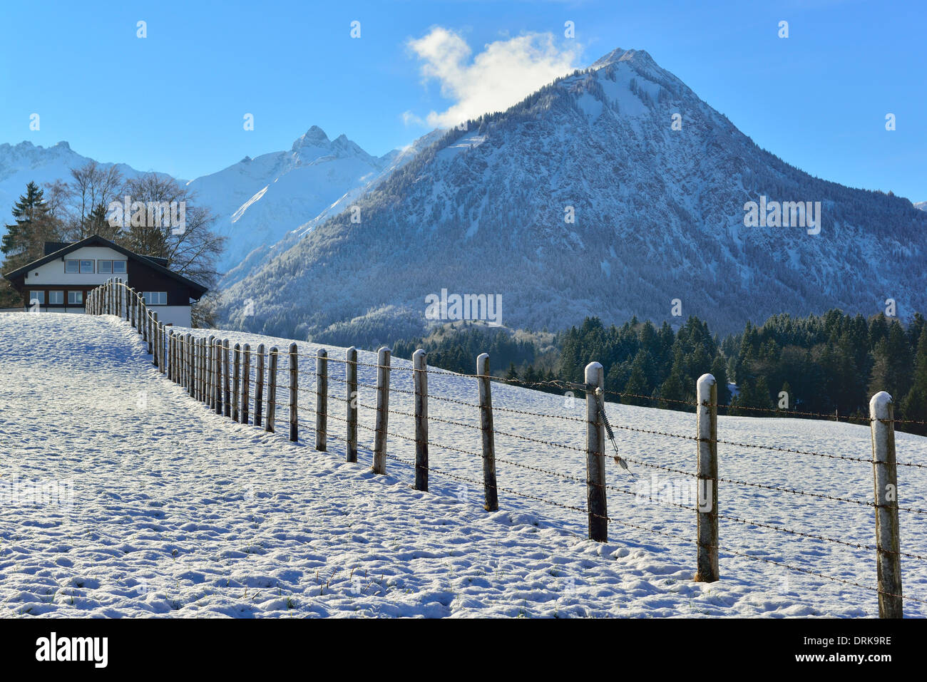 Winter scene of the foothills to  the Bavarian  Alps above  the skiing and hiking town of Oberstdorf in the Allgäu. Bavaria - Stock Image