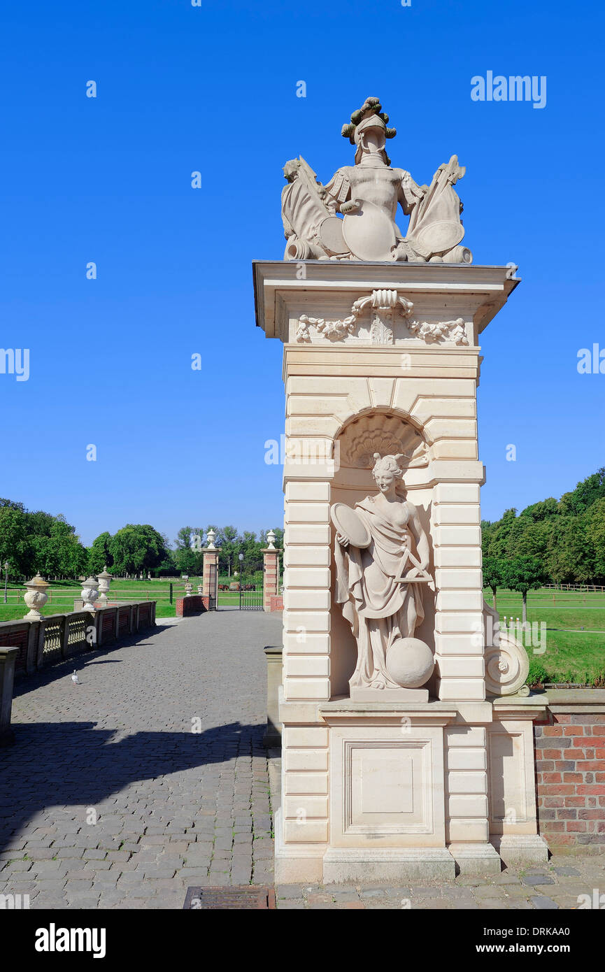 Bridge with statue at entrance, Moated Castle Nordkirchen, North Rhine-Westphalia, Germany, Europe Stock Photo