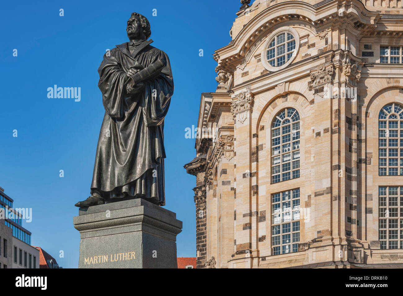 martin luther monument on the neumarkt before the frauenkirche