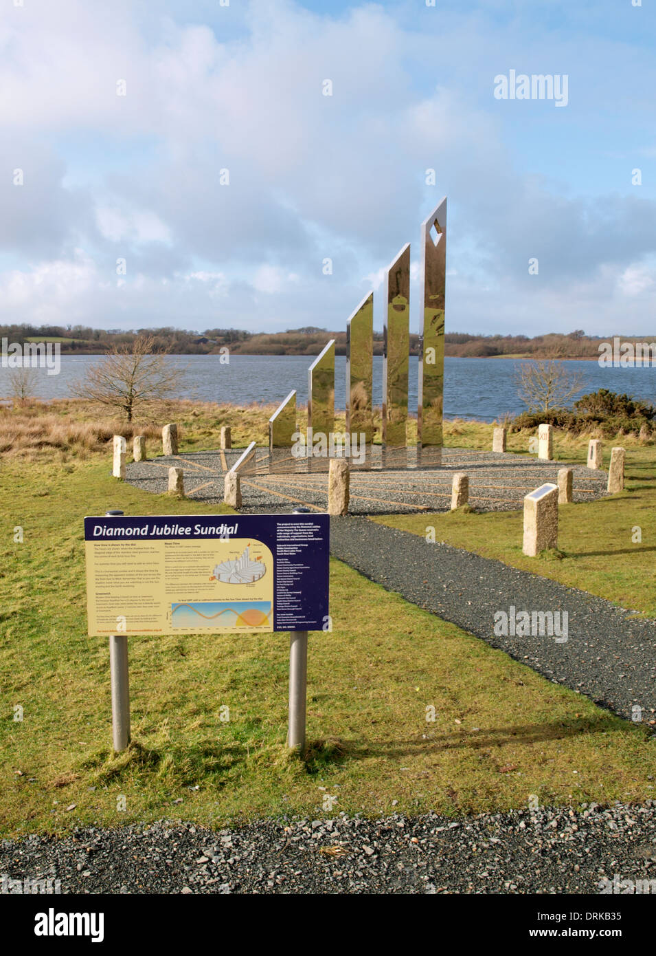 Diamond Jubilee Sundial, Roadford Reservoir, Devon, UK - Stock Image