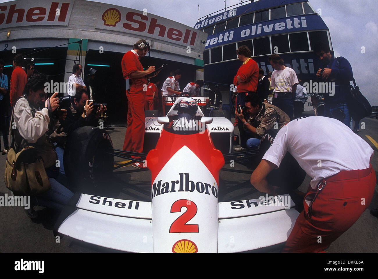 Alain Prost in his Malboro- McLaren F1 car in the pits 1985 Portuguese GP - Stock Image