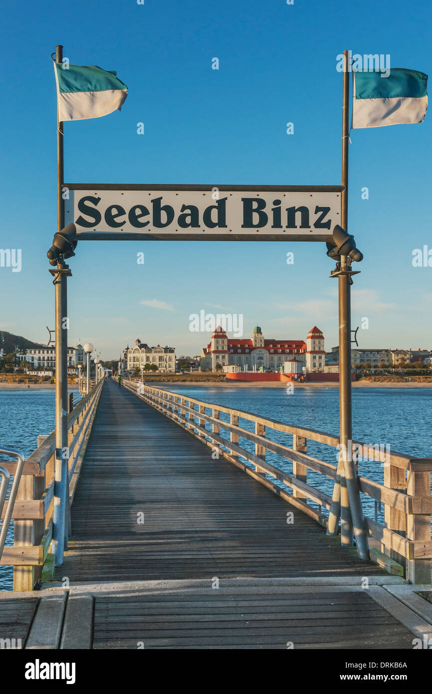 Kurhaus Binz viewed from the pier, Binz, Ruegen Island, County Vorpommern-Ruegen, Mecklenburg-Western Pomerania, Stock Photo