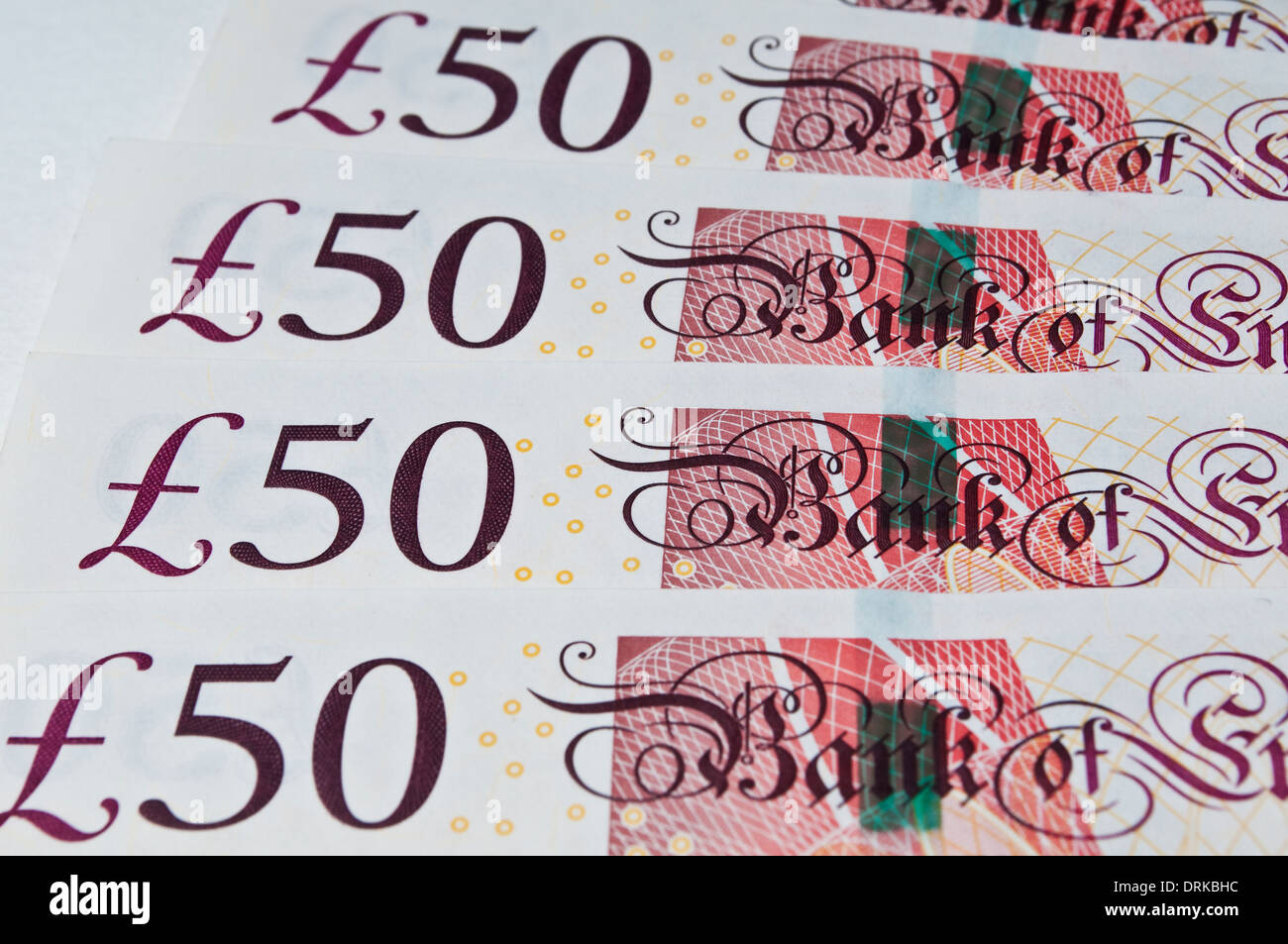 Fifty pound banknotes - Stock Image