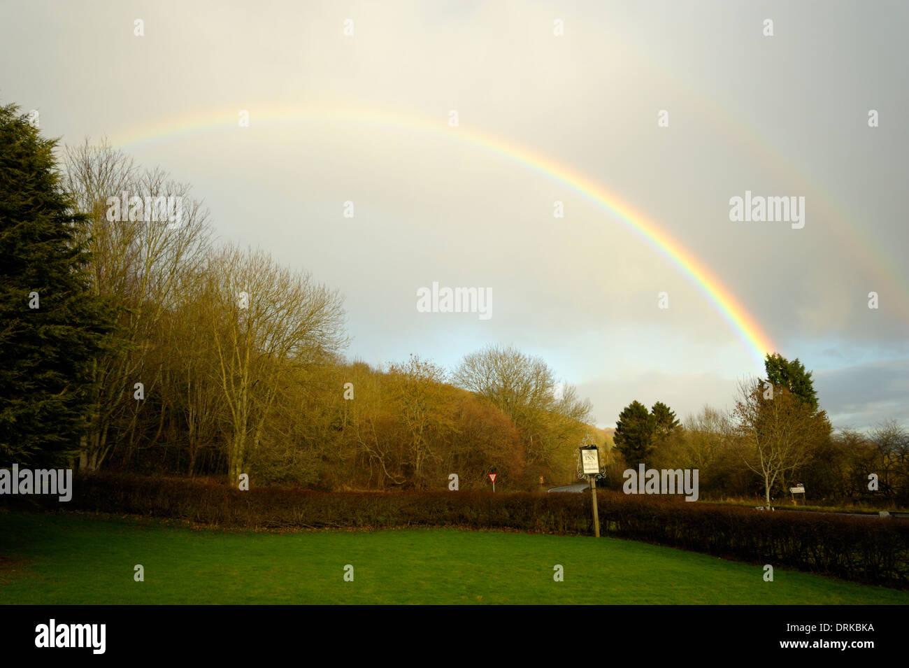 Rainbow at the Rhydspence Inn - Stock Image