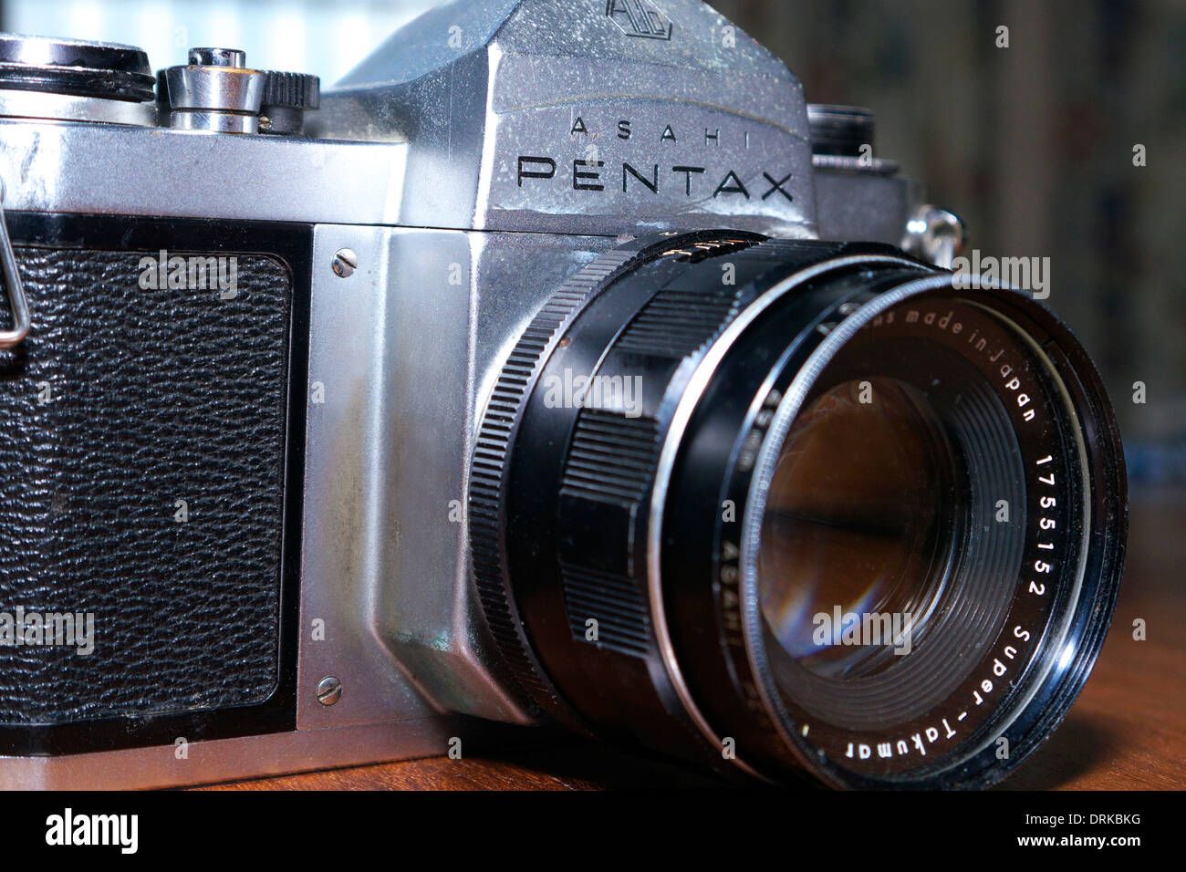 A Pentax S1a single lens reflex camera with f2, 55mm Super Takumar lens fitted. Stock Photo