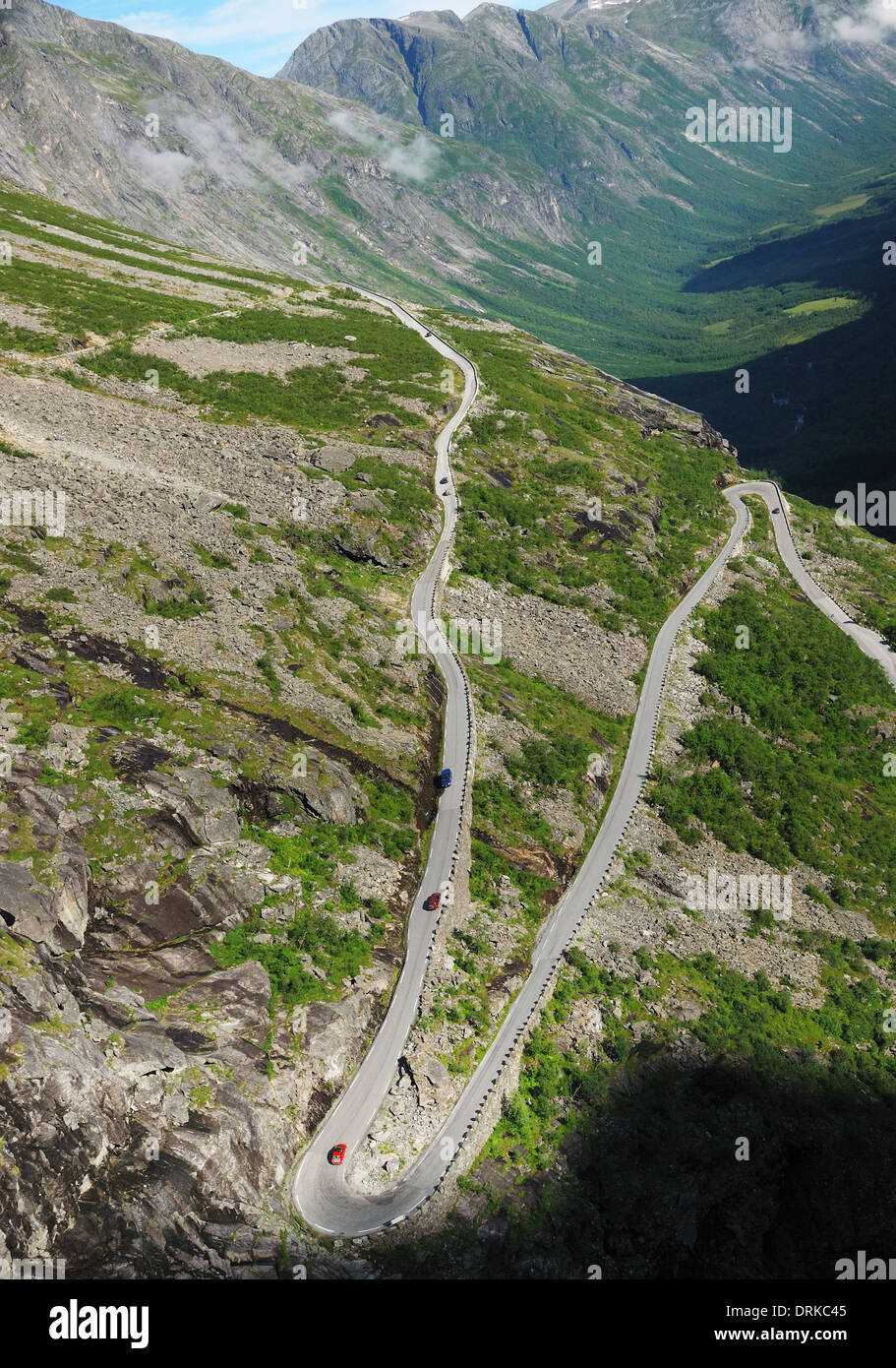 Mountain slope with the serpentine road Trollstigen - Stock Image