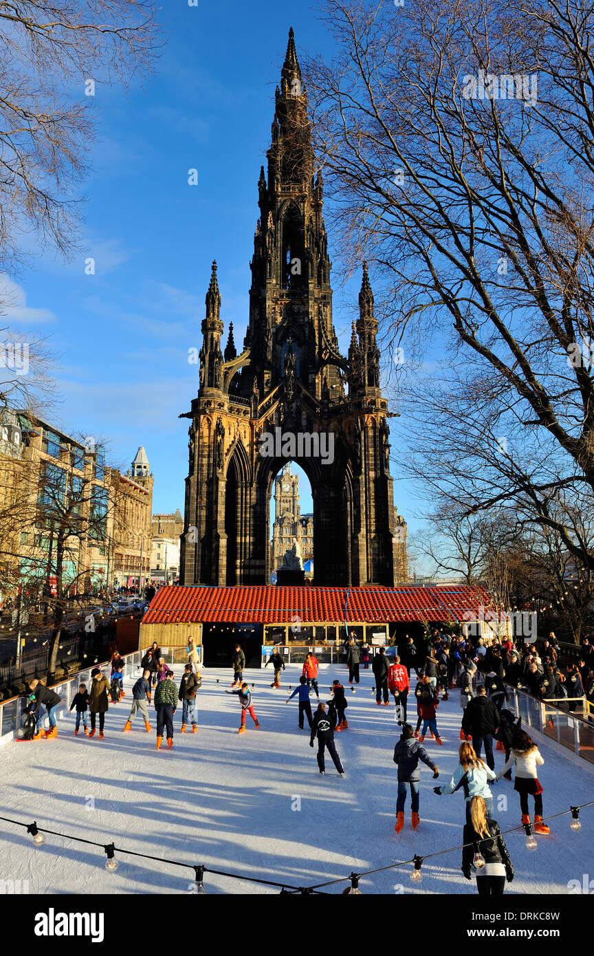 Christmas ice rink - Princes Street Gardens, Edinburgh, Scotland Stock Photo