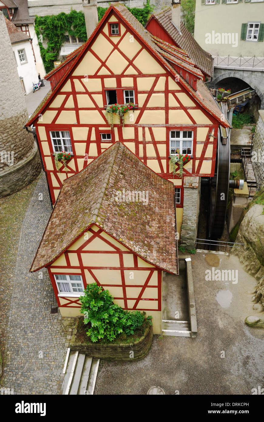 Fachwerk house in the European town - Stock Image