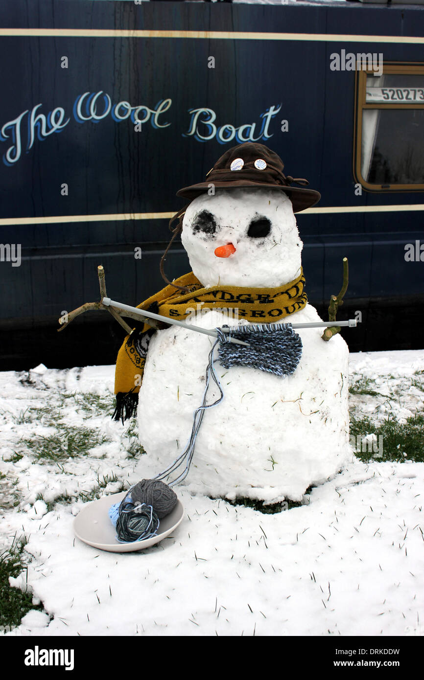 Kevin the knitting snowman in his first picture. Made by Capt Col of The Wool Boat in Jan 2013. - Stock Image