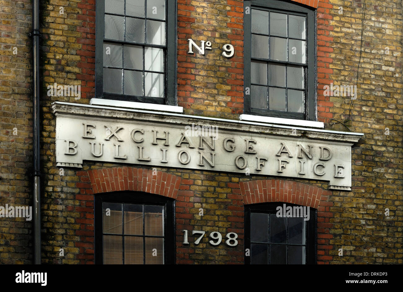 London, England, UK. Exchange and Bullion Office, 9 Wardour Street. Occupied by Benjamin Smart in 18thC - Stock Image
