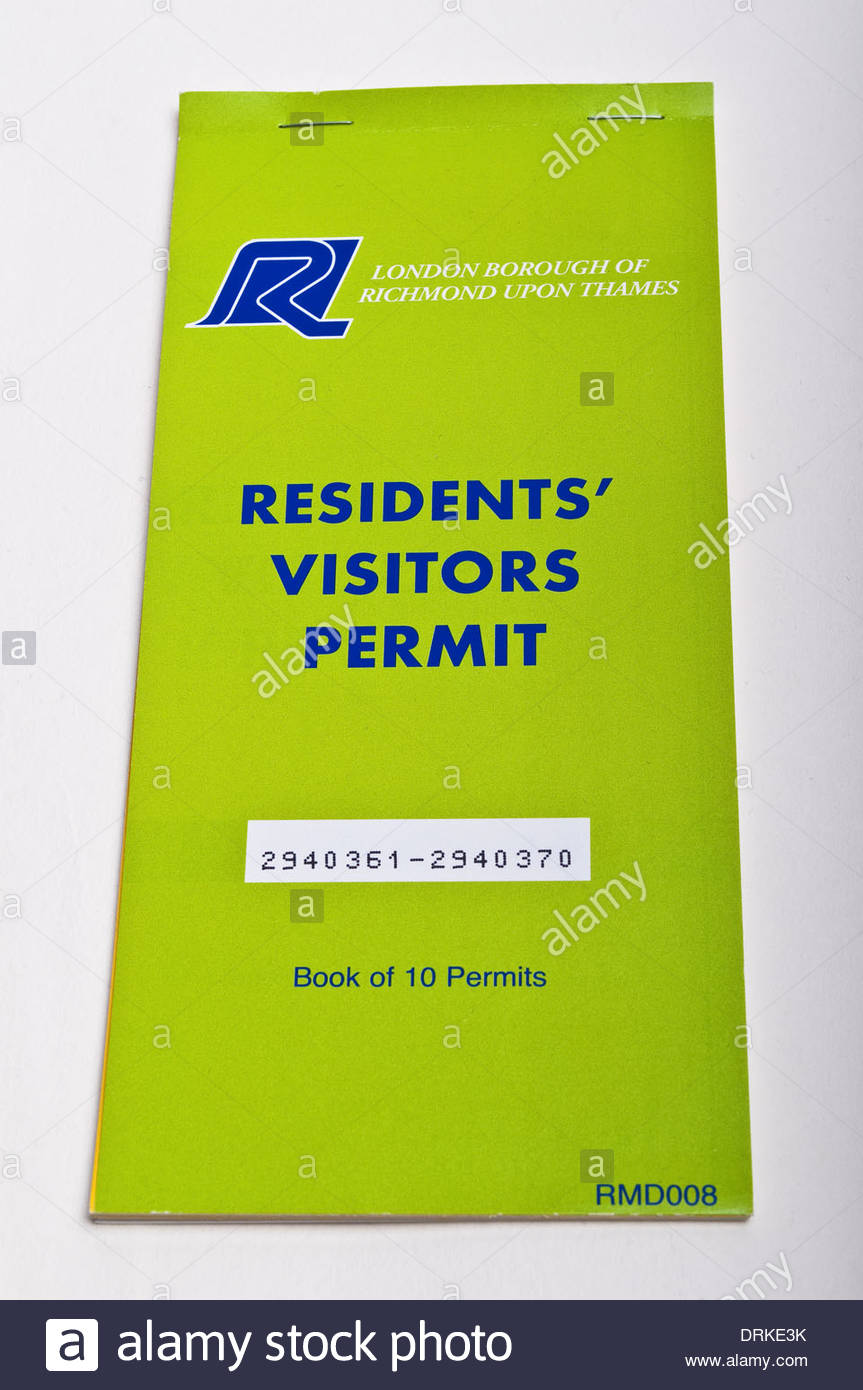 Residents' Visitors parking permit booklet, London Borough of Richmond upon Thames, England, Uk - Stock Image