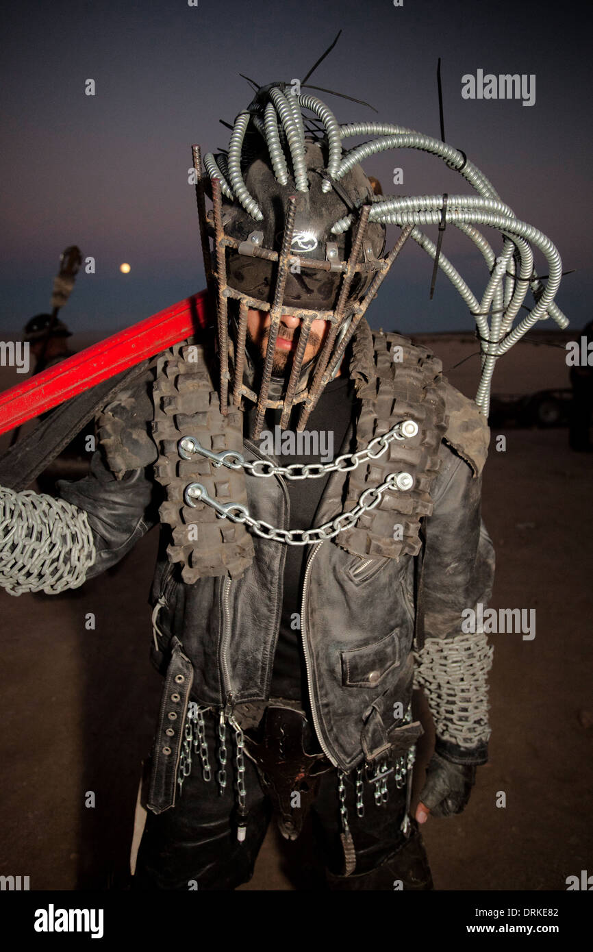 Wasteland Weekend in the Mojave Desert, near California City, California, in 2012, post apocalyptic Mad Max party - Stock Image