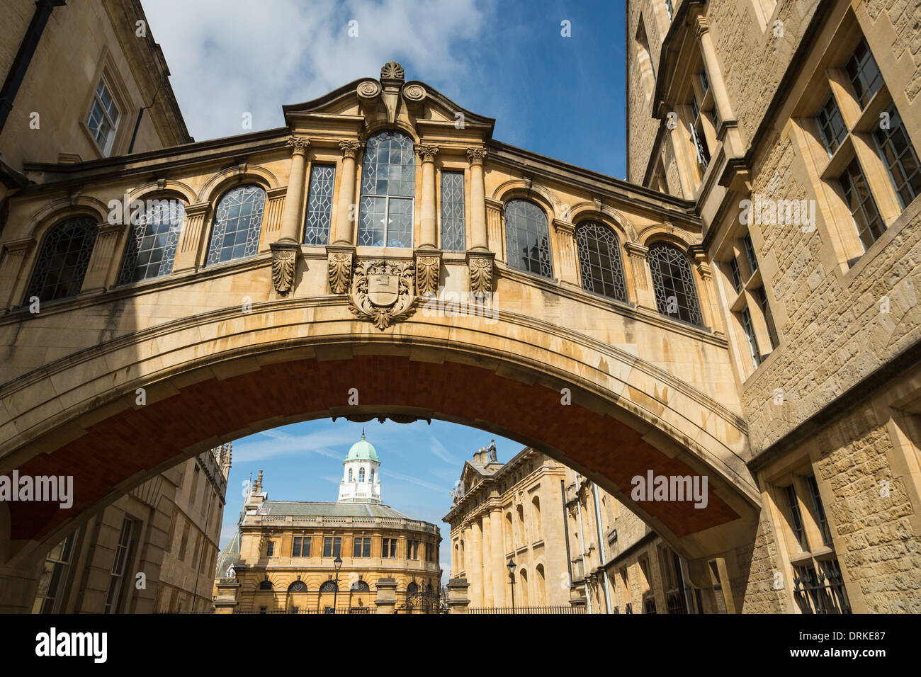 Bridge of Sighs, Sheldonian Theatre and Bodleian Library, Oxford, England Stock Photo