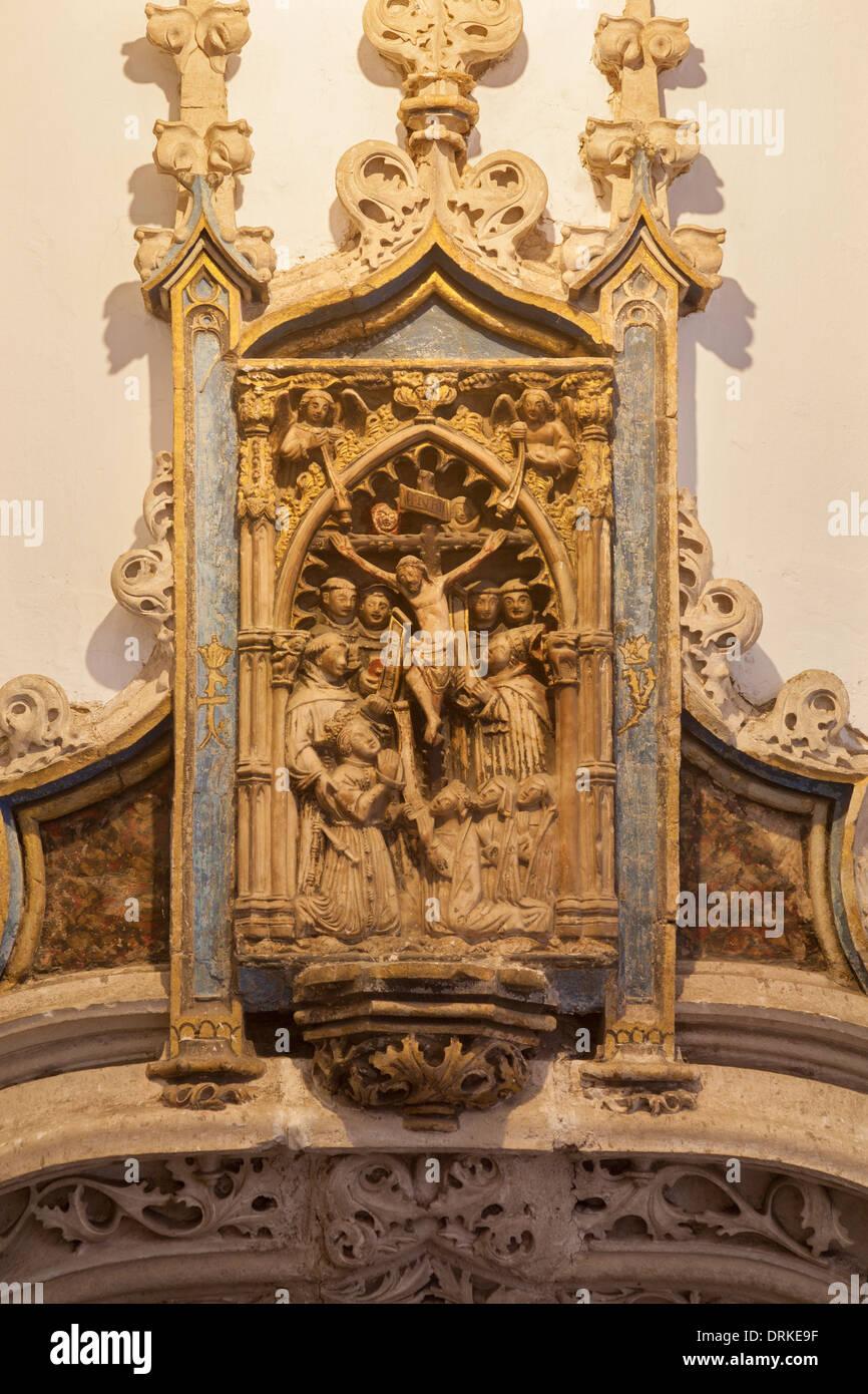 Toledo - Detail from portal of Gothic atrium of Monasterio San Juan de los Reyes or Monastery of Saint John of the Kings. - Stock Image