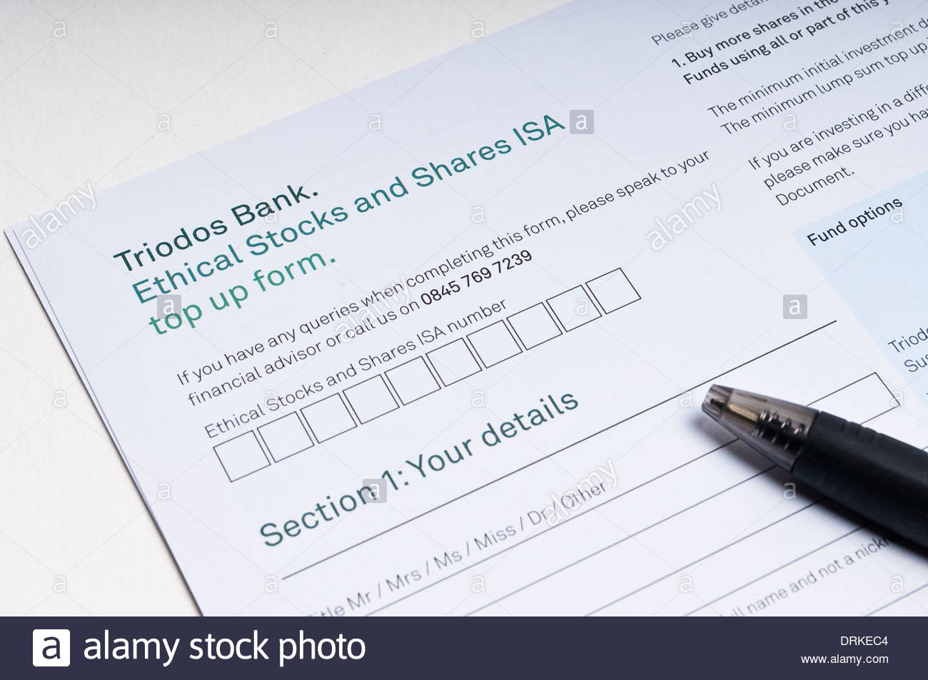 Application form for Triodos Bank Ethical Stocks and Shares ISA - Stock Image