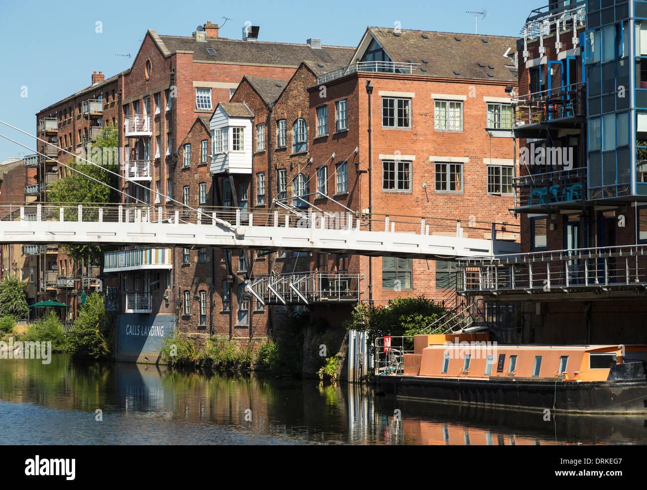 Centenary Bridge River Aire at The Calls, Leeds, England - Stock Image