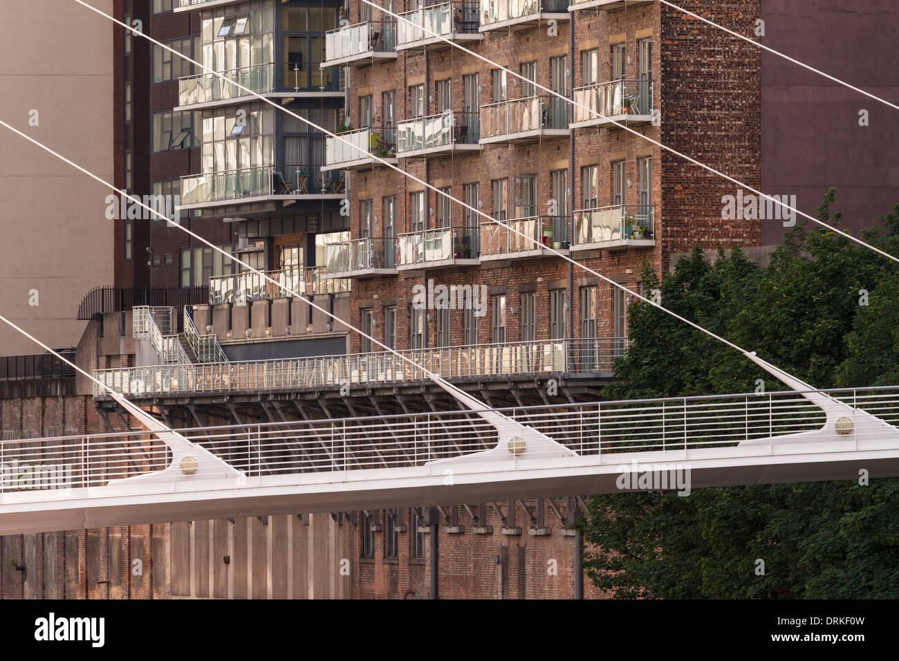 Trinity Bridge riverside apartments, Spinningfields, Manchester, England - Stock Image